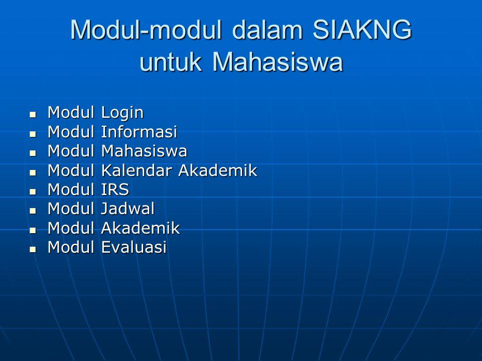 Modul-modul dalam SIAKNG untuk Mahasiswa Modul Login Modul Login Modul Informasi Modul Informasi Modul Mahasiswa Modul Mahasiswa Modul Kalendar Akadem