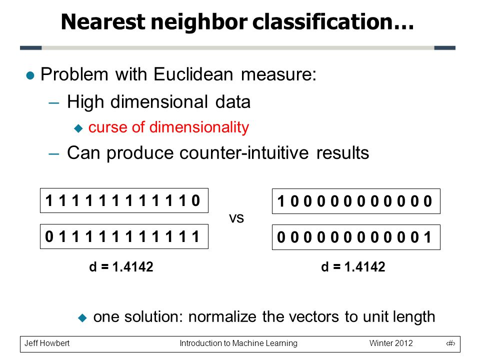 Jeff Howbert Introduction to Machine Learning Winter 2012 12 l Problem with Euclidean measure: –High dimensional data  curse of dimensionality –Can produce counter-intuitive results Nearest neighbor classification… 1 1 1 1 1 1 1 1 1 1 1 0 0 1 1 1 1 1 1 1 1 1 1 1 1 0 0 0 0 0 0 0 0 0 0 0 0 0 0 0 0 0 0 0 0 0 0 1 vs d = 1.4142  one solution: normalize the vectors to unit length