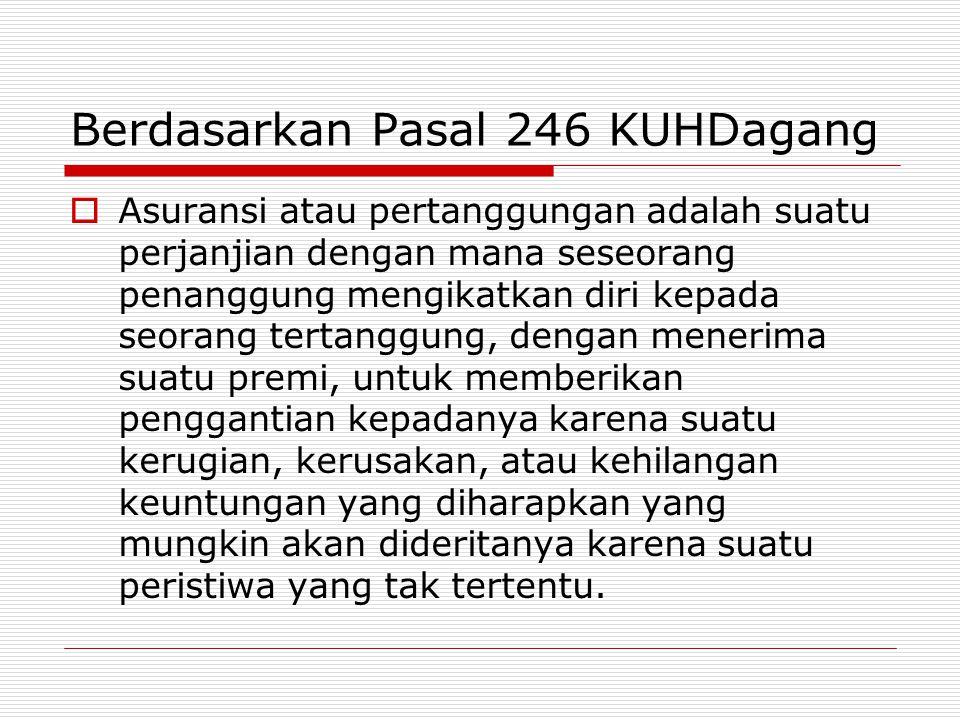 Berdasarkan Pasal 246 KUHDagang  Asuransi atau pertanggungan adalah suatu perjanjian dengan mana seseorang penanggung mengikatkan diri kepada seorang