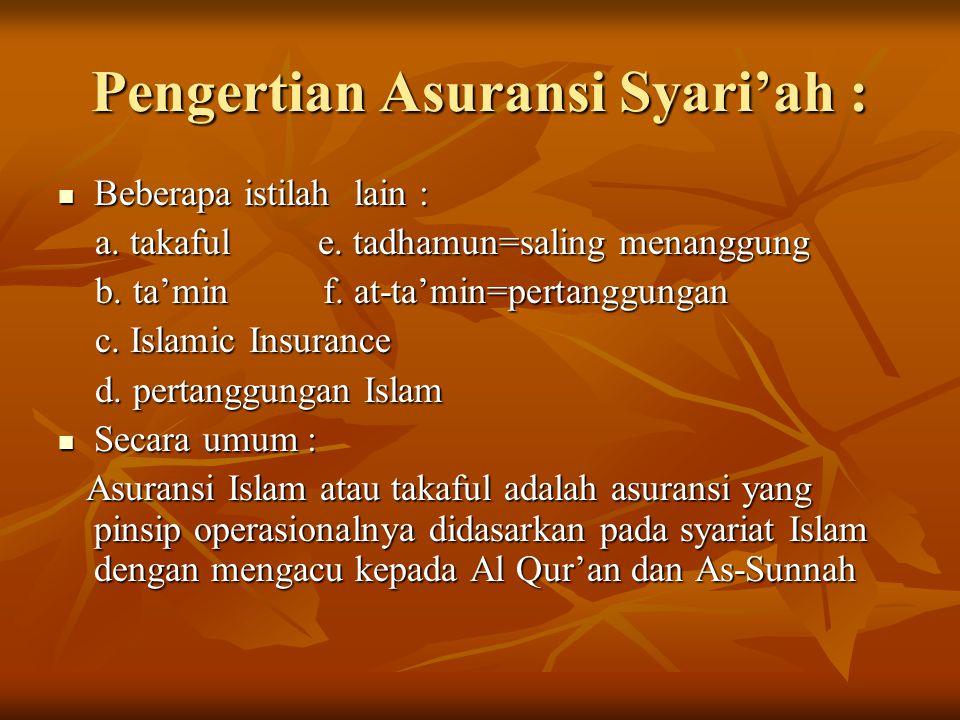 Pengertian Asuransi Syari'ah : Beberapa istilah lain : Beberapa istilah lain : a.