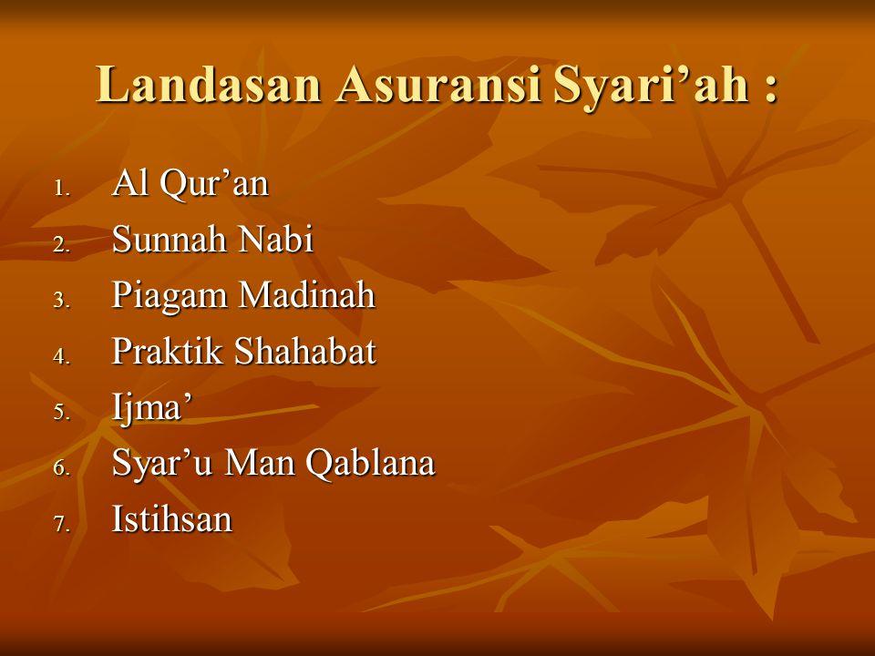 Landasan Asuransi Syari'ah : 1. Al Qur'an 2. Sunnah Nabi 3. Piagam Madinah 4. Praktik Shahabat 5. Ijma' 6. Syar'u Man Qablana 7. Istihsan