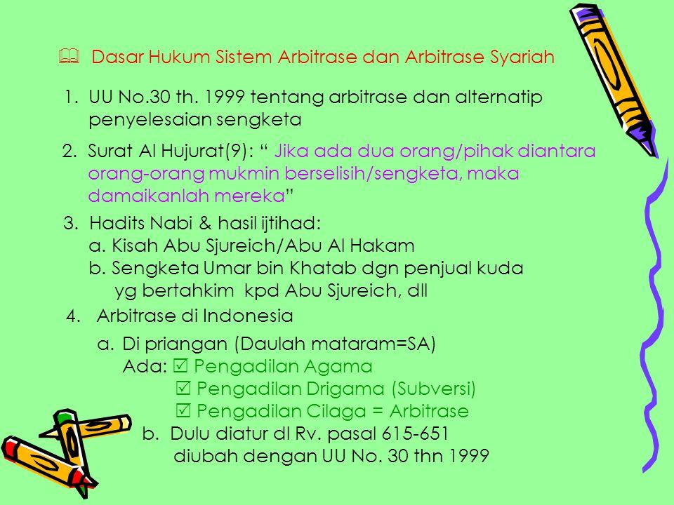  Dasar Hukum Sistem Arbitrase dan Arbitrase Syariah 1.UU No.30 th. 1999 tentang arbitrase dan alternatip penyelesaian sengketa 2. Surat Al Hujurat(9)