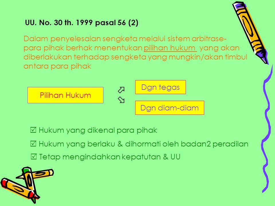 UU. No. 30 th. 1999 pasal 56 (2) Dalam penyelesaian sengketa melalui sistem arbitrase- para pihak berhak menentukan pilihan hukum yang akan diberlakuk
