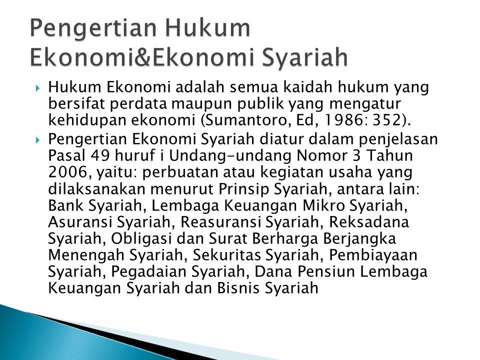  Hukum Ekonomi adalah semua kaidah hukum yang bersifat perdata maupun publik yang mengatur kehidupan ekonomi (Sumantoro, Ed, 1986: 352).  Pengertian