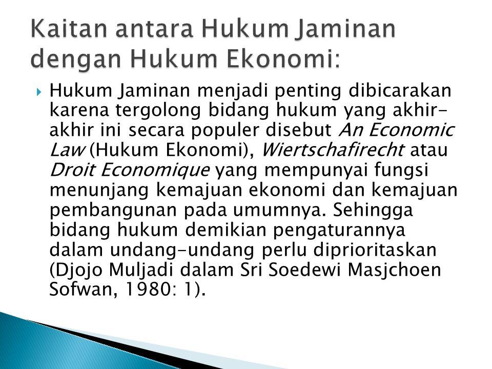  Hukum Jaminan menjadi penting dibicarakan karena tergolong bidang hukum yang akhir- akhir ini secara populer disebut An Economic Law (Hukum Ekonomi)