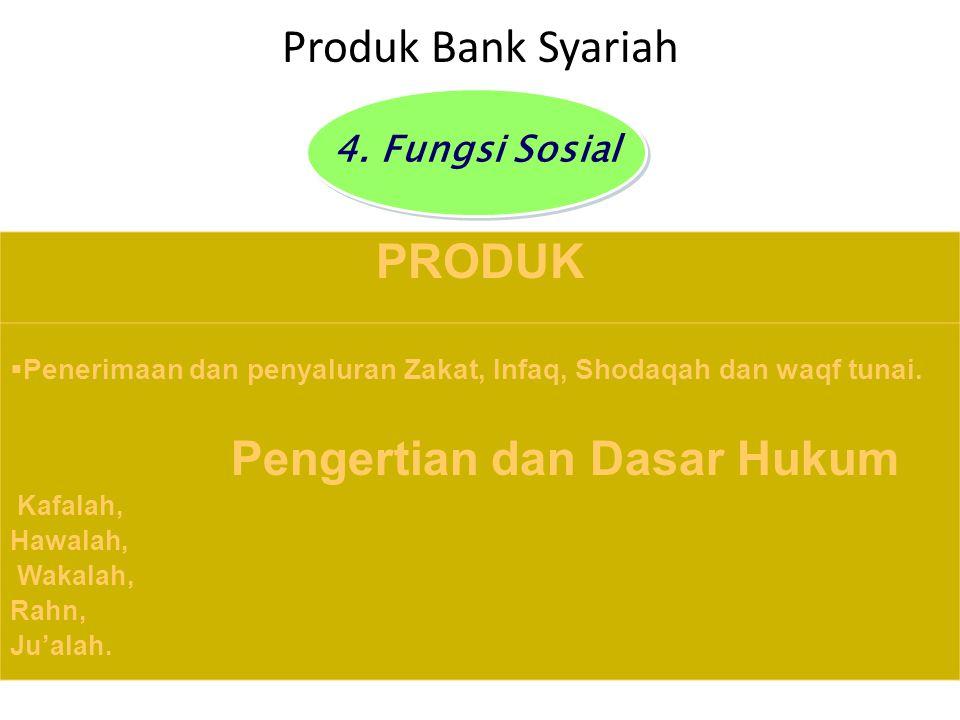 Produk Bank Syariah PRODUK  Penerimaan dan penyaluran Zakat, Infaq, Shodaqah dan waqf tunai. Pengertian dan Dasar Hukum Kafalah, Hawalah, Wakalah, Ra
