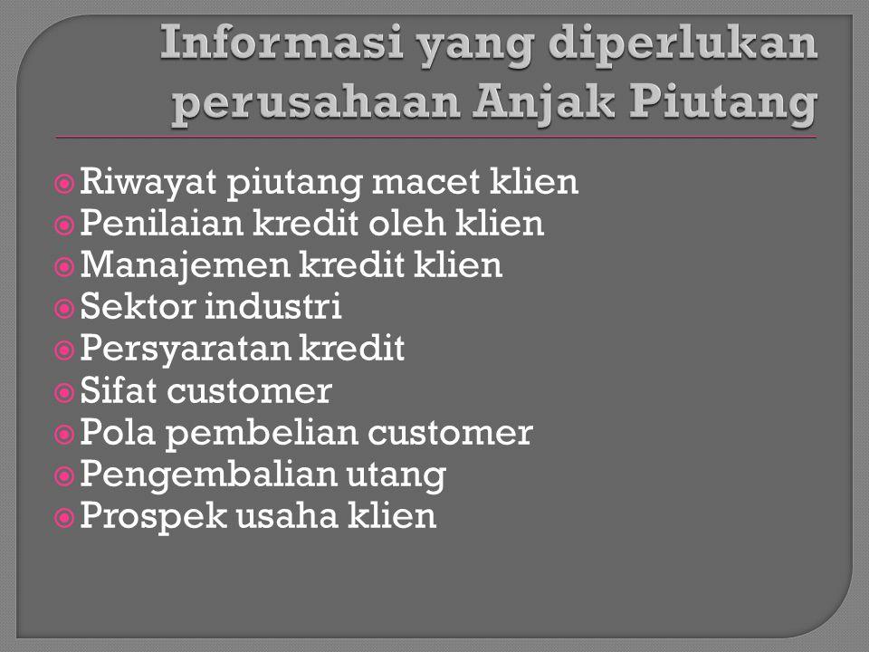  Riwayat piutang macet klien  Penilaian kredit oleh klien  Manajemen kredit klien  Sektor industri  Persyaratan kredit  Sifat customer  Pola pe