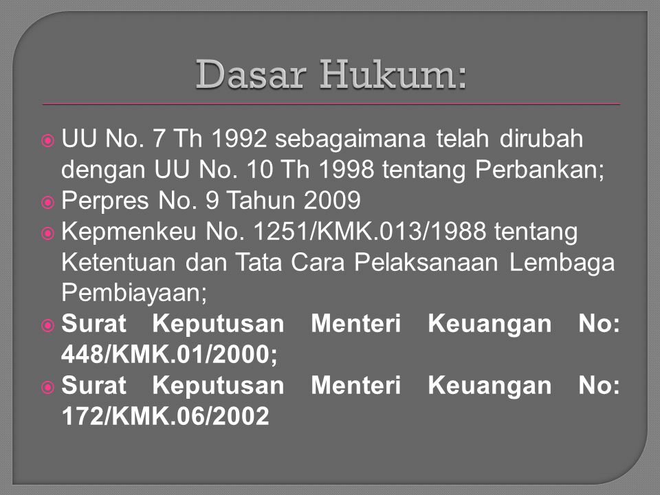  UU No. 7 Th 1992 sebagaimana telah dirubah dengan UU No. 10 Th 1998 tentang Perbankan;  Perpres No. 9 Tahun 2009  Kepmenkeu No. 1251/KMK.013/1988