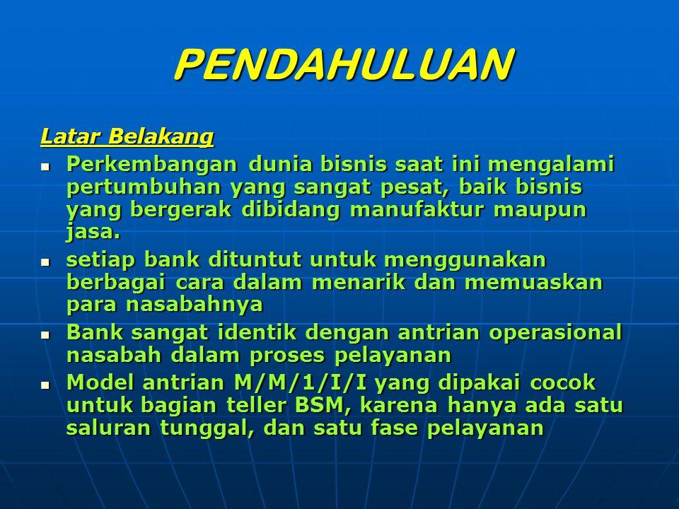 NasabahArrival No.Service Duration 65I1.02 66-- 67-- 68I1.49 69I1.24 70I1.07 71I3.15 72I1.51