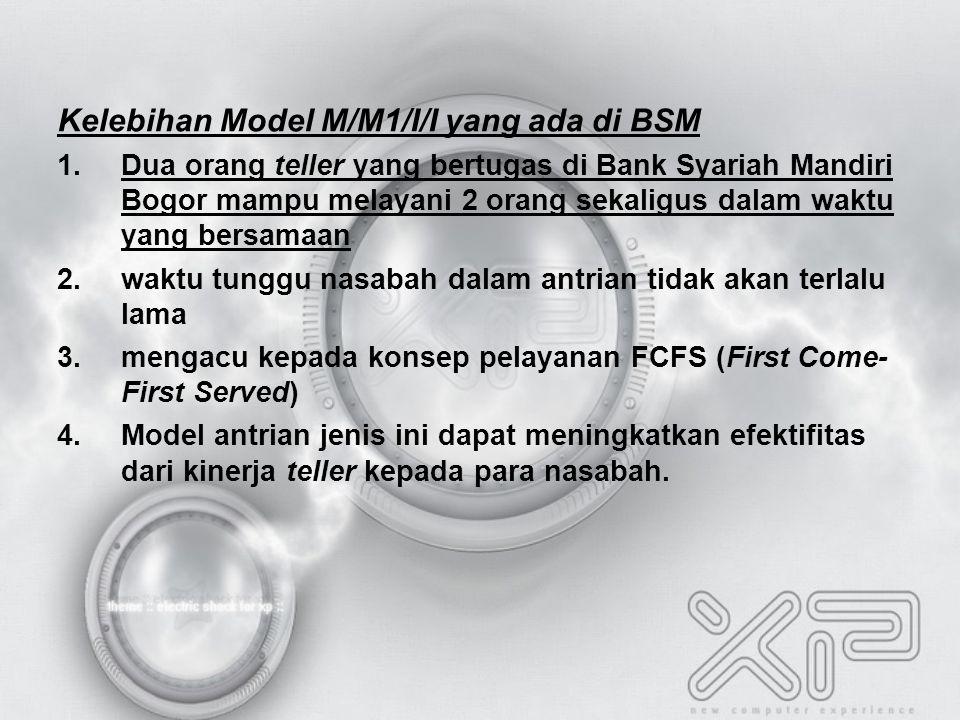 Kelebihan Model M/M1/I/I yang ada di BSM 1.Dua orang teller yang bertugas di Bank Syariah Mandiri Bogor mampu melayani 2 orang sekaligus dalam waktu yang bersamaan 2.waktu tunggu nasabah dalam antrian tidak akan terlalu lama 3.mengacu kepada konsep pelayanan FCFS (First Come- First Served) 4.Model antrian jenis ini dapat meningkatkan efektifitas dari kinerja teller kepada para nasabah.