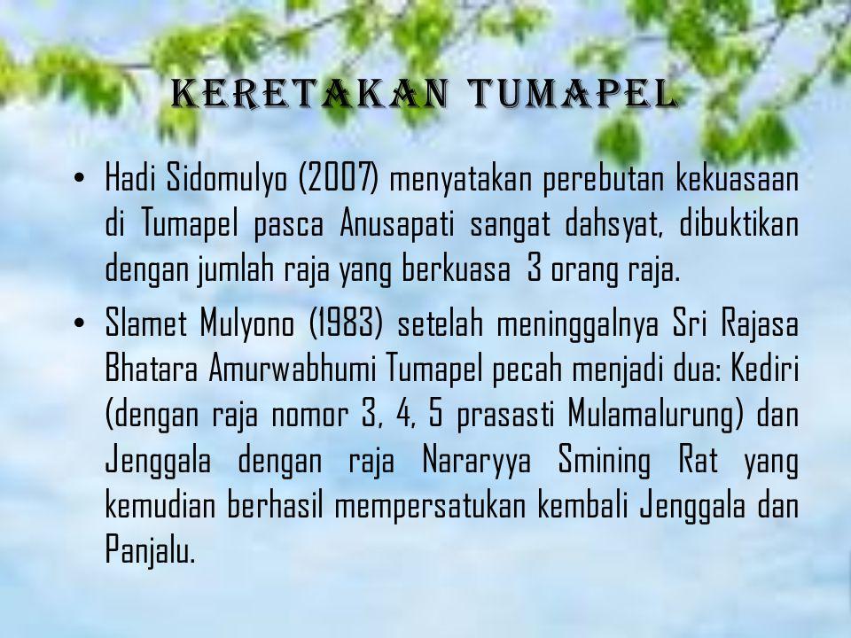 Keretakan Tumapel Hadi Sidomulyo (2007) menyatakan perebutan kekuasaan di Tumapel pasca Anusapati sangat dahsyat, dibuktikan dengan jumlah raja yang berkuasa 3 orang raja.