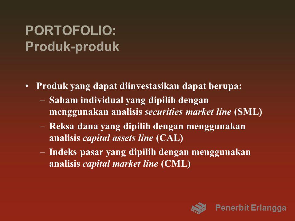 PORTOFOLIO: Produk-produk Produk yang dapat diinvestasikan dapat berupa: –Saham individual yang dipilih dengan menggunakan analisis securities market line (SML) –Reksa dana yang dipilih dengan menggunakan analisis capital assets line (CAL) –Indeks pasar yang dipilih dengan menggunakan analisis capital market line (CML) Penerbit Erlangga
