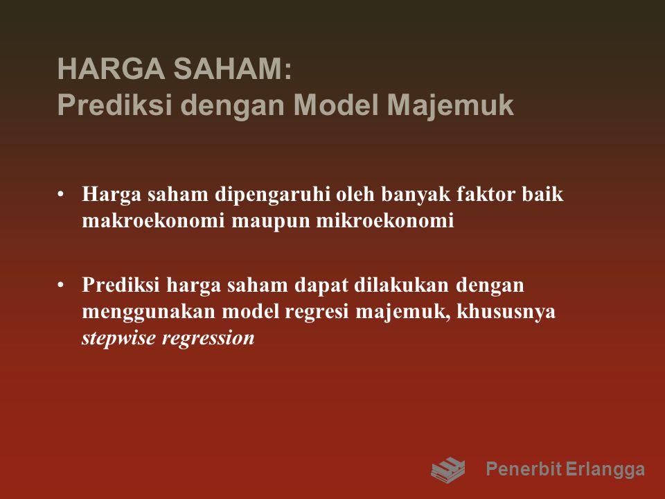 HARGA SAHAM: Prediksi dengan Model Majemuk Harga saham dipengaruhi oleh banyak faktor baik makroekonomi maupun mikroekonomi Prediksi harga saham dapat dilakukan dengan menggunakan model regresi majemuk, khususnya stepwise regression Penerbit Erlangga