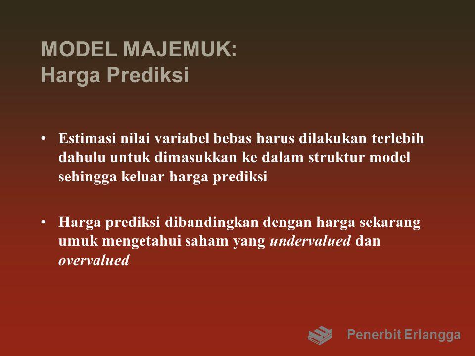 MODEL MAJEMUK: Harga Prediksi Estimasi nilai variabel bebas harus dilakukan terlebih dahulu untuk dimasukkan ke dalam struktur model sehingga keluar harga prediksi Harga prediksi dibandingkan dengan harga sekarang umuk mengetahui saham yang undervalued dan overvalued Penerbit Erlangga