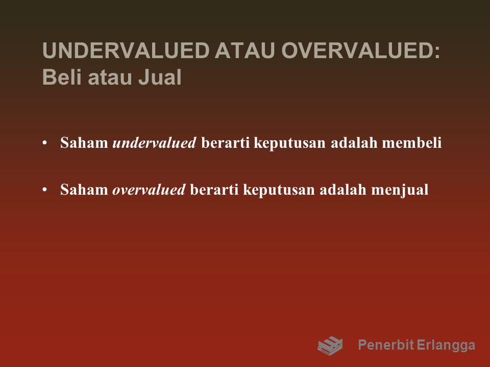 UNDERVALUED ATAU OVERVALUED: Beli atau Jual Saham undervalued berarti keputusan adalah membeli Saham overvalued berarti keputusan adalah menjual Penerbit Erlangga