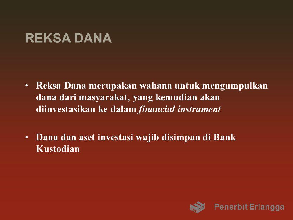 REKSA DANA Reksa Dana merupakan wahana untuk mengumpulkan dana dari masyarakat, yang kemudian akan diinvestasikan ke dalam financial instrument Dana dan aset investasi wajib disimpan di Bank Kustodian Penerbit Erlangga