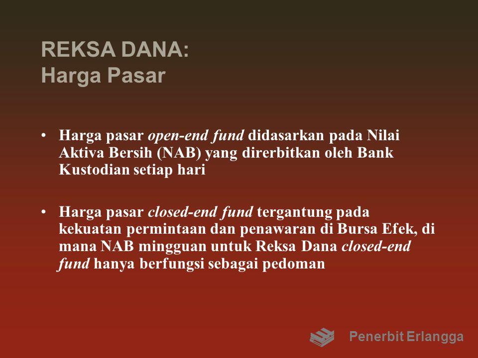 REKSA DANA: Harga Pasar Harga pasar open-end fund didasarkan pada Nilai Aktiva Bersih (NAB) yang direrbitkan oleh Bank Kustodian setiap hari Harga pasar closed-end fund tergantung pada kekuatan permintaan dan penawaran di Bursa Efek, di mana NAB mingguan untuk Reksa Dana closed-end fund hanya berfungsi sebagai pedoman Penerbit Erlangga
