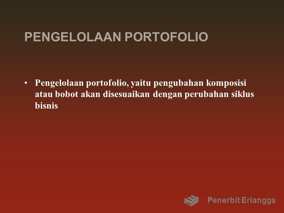 PENGELOLAAN PORTOFOLIO Pengelolaan portofolio, yaitu pengubahan komposisi atau bobot akan disesuaikan dengan perubahan siklus bisnis Penerbit Erlangga