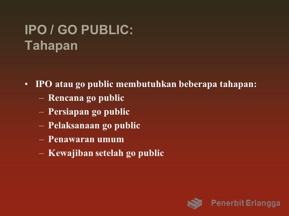 IPO / GO PUBLIC: Tahapan IPO atau go public membutuhkan beberapa tahapan: –Rencana go public –Persiapan go public –Pelaksanaan go public –Penawaran umum –Kewajiban setelah go public Penerbit Erlangga