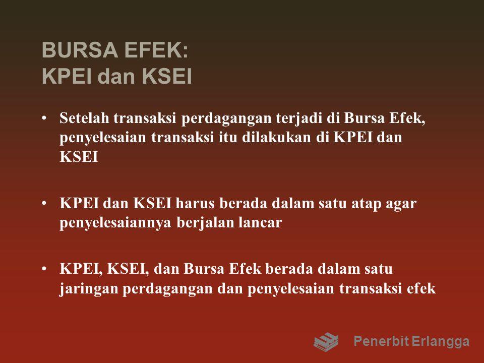 BURSA EFEK: KPEI dan KSEI Setelah transaksi perdagangan terjadi di Bursa Efek, penyelesaian transaksi itu dilakukan di KPEI dan KSEI KPEI dan KSEI harus berada dalam satu atap agar penyelesaiannya berjalan lancar KPEI, KSEI, dan Bursa Efek berada dalam satu jaringan perdagangan dan penyelesaian transaksi efek Penerbit Erlangga