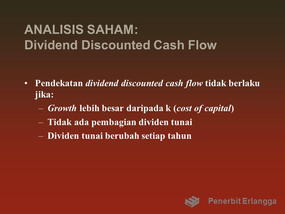 ANALISIS SAHAM: Dividend Discounted Cash Flow Pendekatan dividend discounted cash flow tidak berlaku jika: –Growth lebih besar daripada k (cost of capital) –Tidak ada pembagian dividen tunai –Dividen tunai berubah setiap tahun Penerbit Erlangga