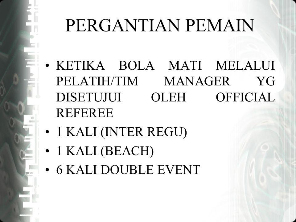 PERGANTIAN PEMAIN KETIKA BOLA MATI MELALUI PELATIH/TIM MANAGER YG DISETUJUI OLEH OFFICIAL REFEREE 1 KALI (INTER REGU) 1 KALI (BEACH) 6 KALI DOUBLE EVENT
