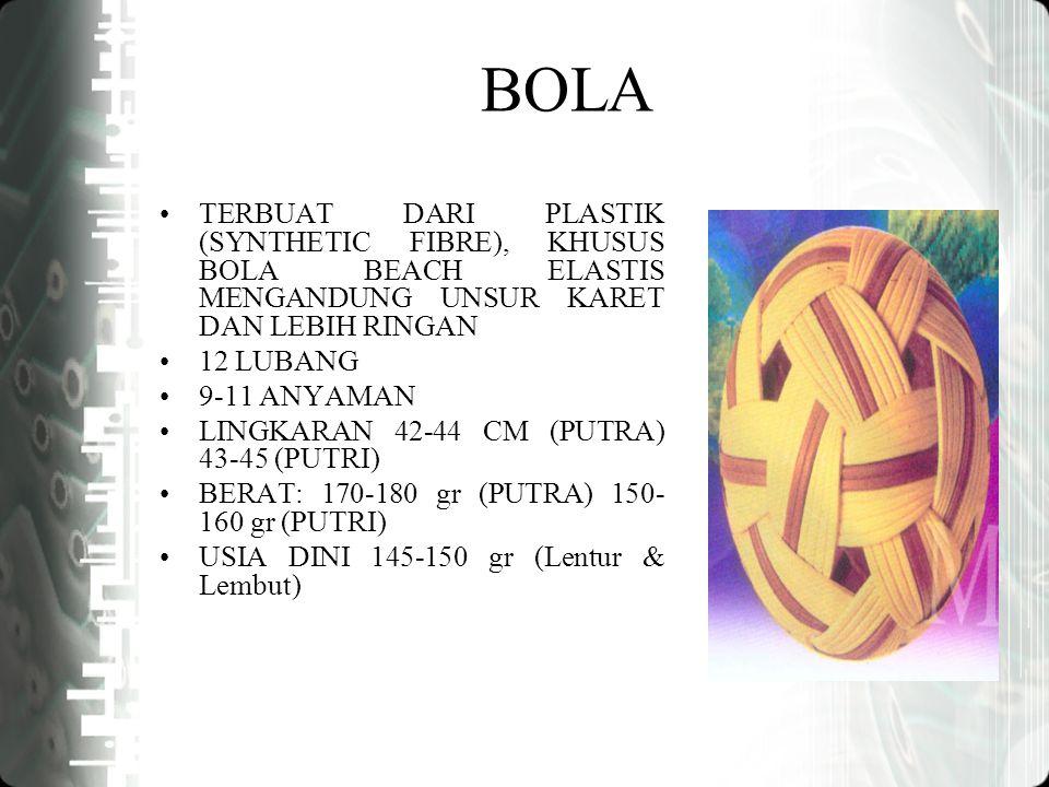 BOLA TERBUAT DARI PLASTIK (SYNTHETIC FIBRE), KHUSUS BOLA BEACH ELASTIS MENGANDUNG UNSUR KARET DAN LEBIH RINGAN 12 LUBANG 9-11 ANYAMAN LINGKARAN 42-44