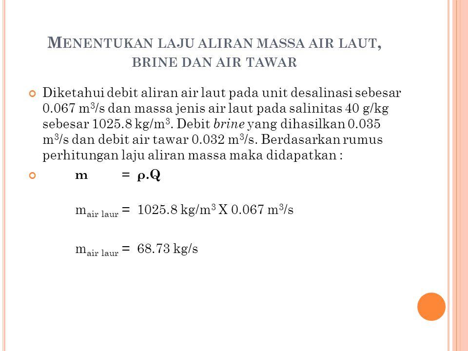M ENENTUKAN LAJU ALIRAN MASSA AIR LAUT, BRINE DAN AIR TAWAR Diketahui debit aliran air laut pada unit desalinasi sebesar 0.067 m 3 /s dan massa jenis