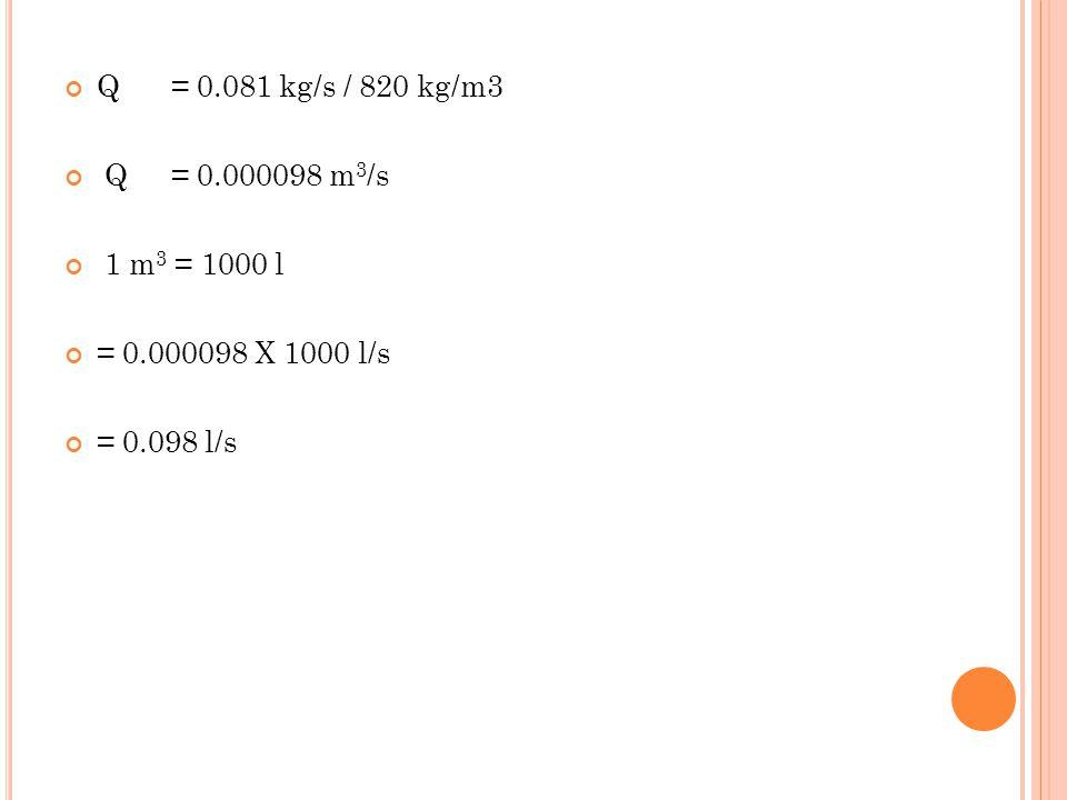 Q= 0.081 kg/s / 820 kg/m3 Q= 0.000098 m 3 /s 1 m 3 = 1000 l = 0.000098 X 1000 l/s = 0.098 l/s