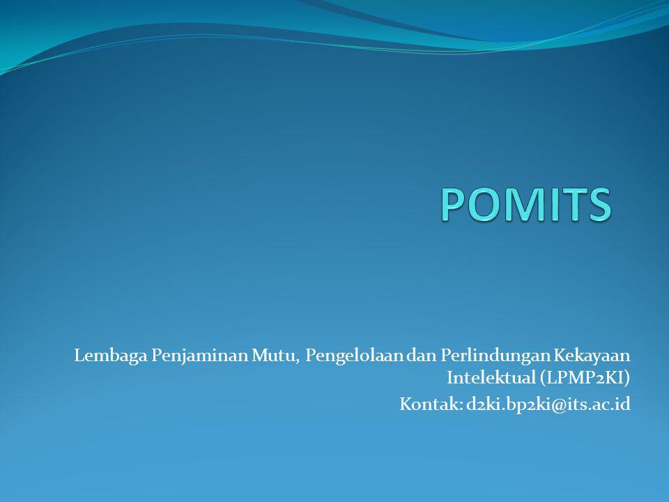 Lembaga Penjaminan Mutu, Pengelolaan dan Perlindungan Kekayaan Intelektual (LPMP2KI) Kontak: d2ki.bp2ki@its.ac.id