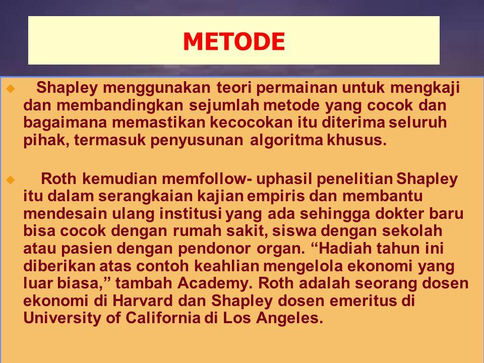 METODE u Shapley menggunakan teori permainan untuk mengkaji dan membandingkan sejumlah metode yang cocok dan bagaimana memastikan kecocokan itu diterima seluruh pihak, termasuk penyusunan algoritma khusus.