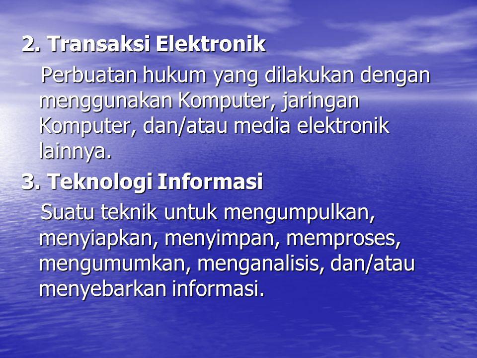 2. Transaksi Elektronik Perbuatan hukum yang dilakukan dengan menggunakan Komputer, jaringan Komputer, dan/atau media elektronik lainnya. Perbuatan hu