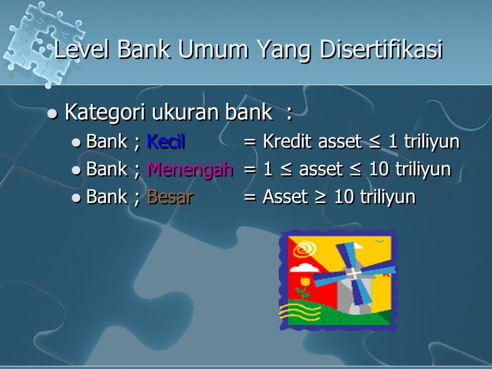 Level Bank Umum Yang Disertifikasi Kategori ukuran bank : Bank ; Kecil = Kredit asset ≤ 1 triliyun Bank ; Menengah = 1 ≤ asset ≤ 10 triliyun Bank ; Be