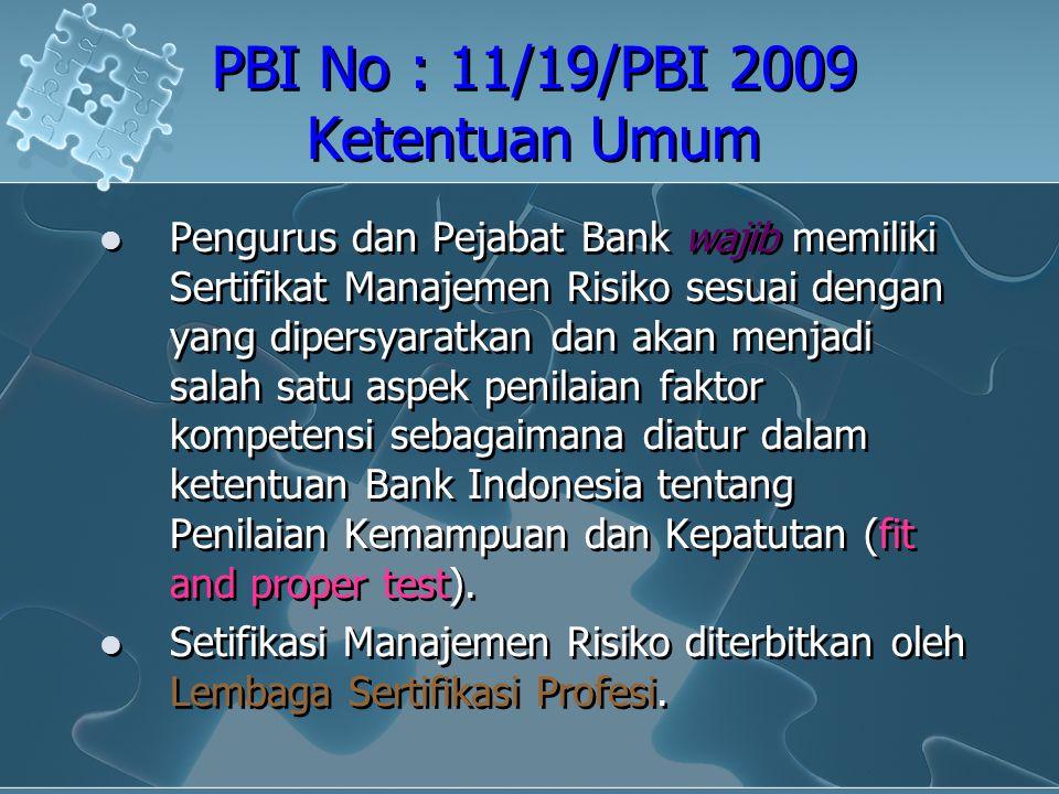 PBI No : 11/19/PBI 2009 Ketentuan Umum Pengurus dan Pejabat Bank wajib memiliki Sertifikat Manajemen Risiko sesuai dengan yang dipersyaratkan dan akan