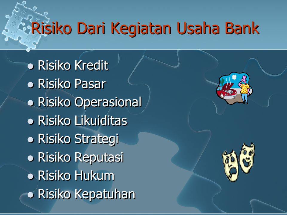 Risiko Dari Kegiatan Usaha Bank Risiko Kredit Risiko Pasar Risiko Operasional Risiko Likuiditas Risiko Strategi Risiko Reputasi Risiko Hukum Risiko Ke