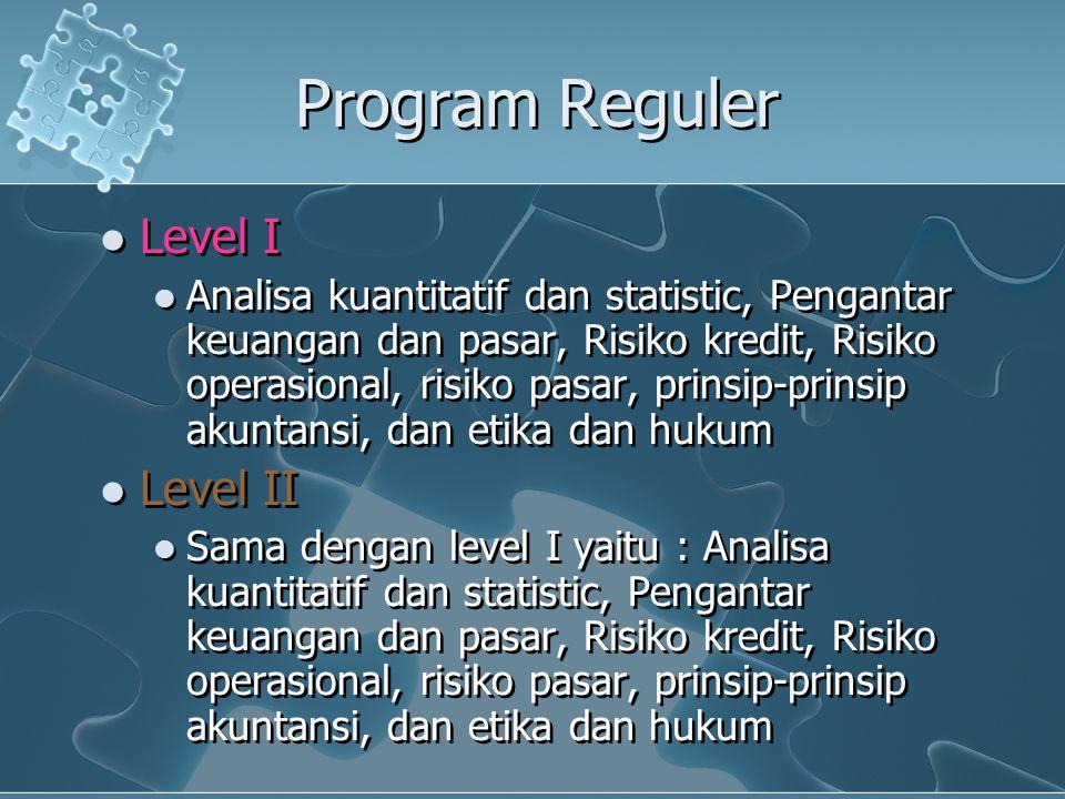 Program Reguler Level I Analisa kuantitatif dan statistic, Pengantar keuangan dan pasar, Risiko kredit, Risiko operasional, risiko pasar, prinsip-prin