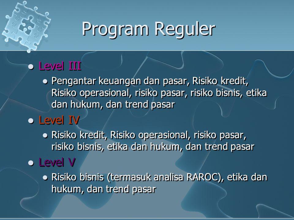 Program Reguler Level III Pengantar keuangan dan pasar, Risiko kredit, Risiko operasional, risiko pasar, risiko bisnis, etika dan hukum, dan trend pas
