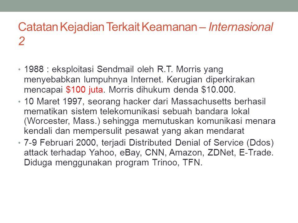 Catatan Kejadian Terkait Keamanan – Internasional 2 1988 : eksploitasi Sendmail oleh R.T. Morris yang menyebabkan lumpuhnya Internet. Kerugian diperki