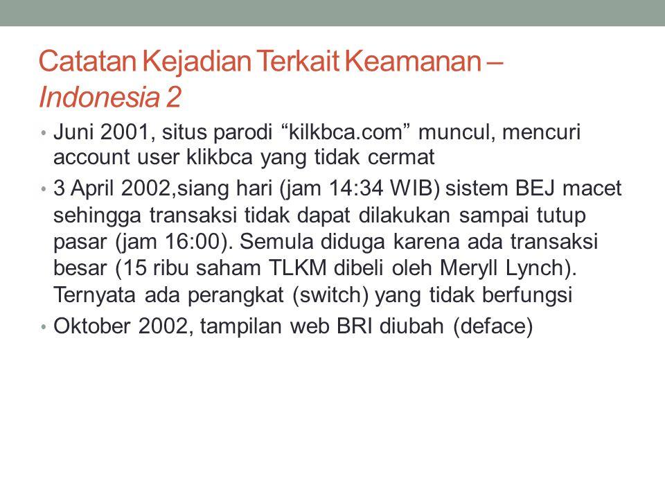 """Catatan Kejadian Terkait Keamanan – Indonesia 2 Juni 2001, situs parodi """"kilkbca.com"""" muncul, mencuri account user klikbca yang tidak cermat 3 April 2"""