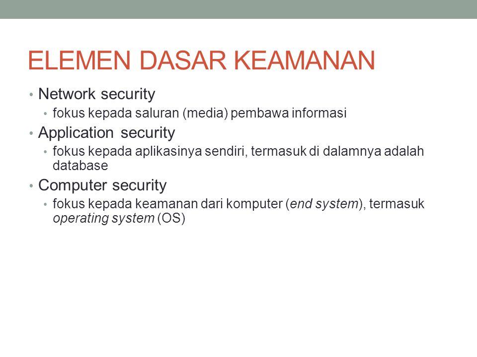 ELEMEN DASAR KEAMANAN Network security fokus kepada saluran (media) pembawa informasi Application security fokus kepada aplikasinya sendiri, termasuk