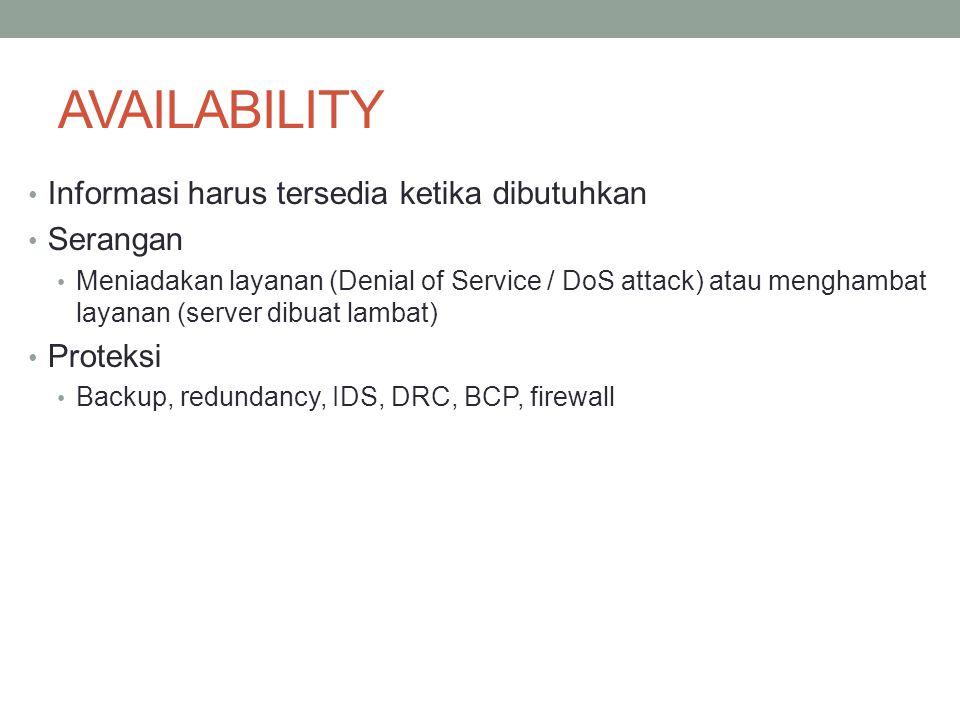 AVAILABILITY Informasi harus tersedia ketika dibutuhkan Serangan Meniadakan layanan (Denial of Service / DoS attack) atau menghambat layanan (server d