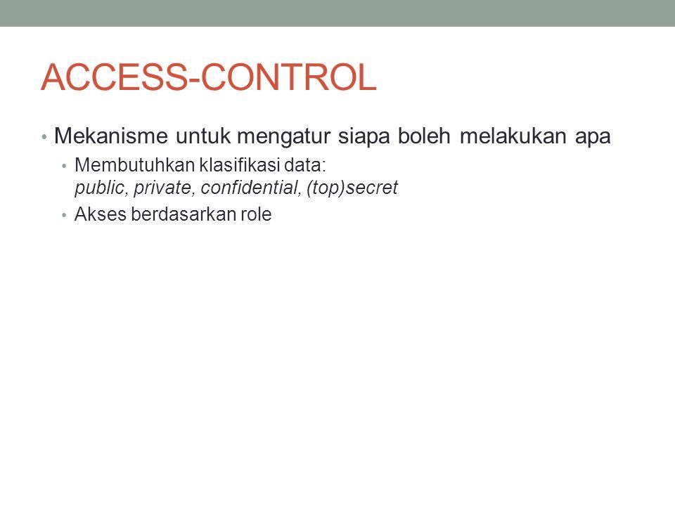 ACCESS-CONTROL Mekanisme untuk mengatur siapa boleh melakukan apa Membutuhkan klasifikasi data: public, private, confidential, (top)secret Akses berda