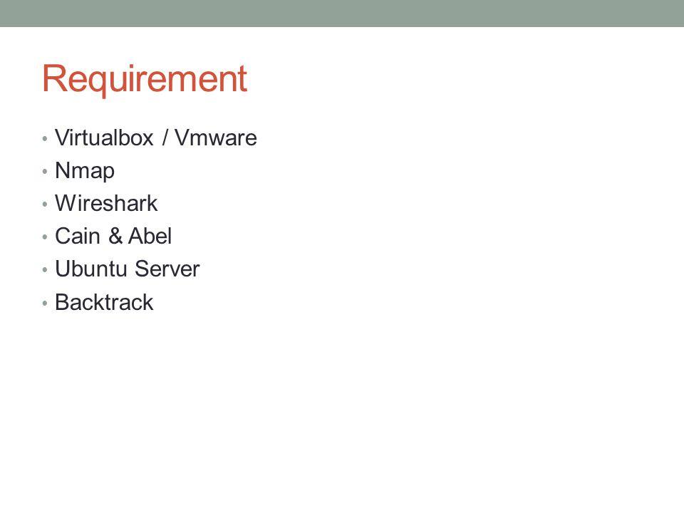 Requirement Virtualbox / Vmware Nmap Wireshark Cain & Abel Ubuntu Server Backtrack