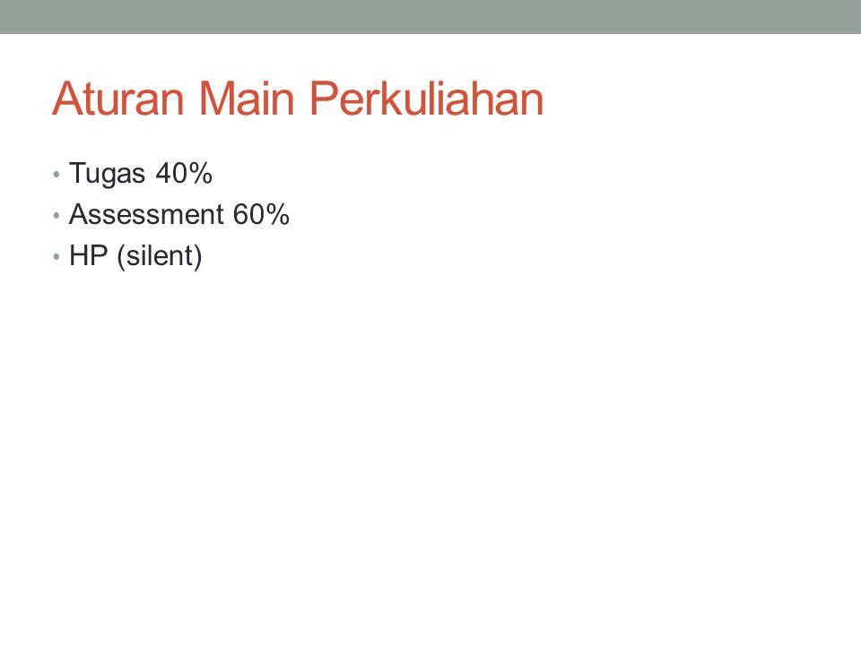 Aturan Main Perkuliahan Tugas 40% Assessment 60% HP (silent)