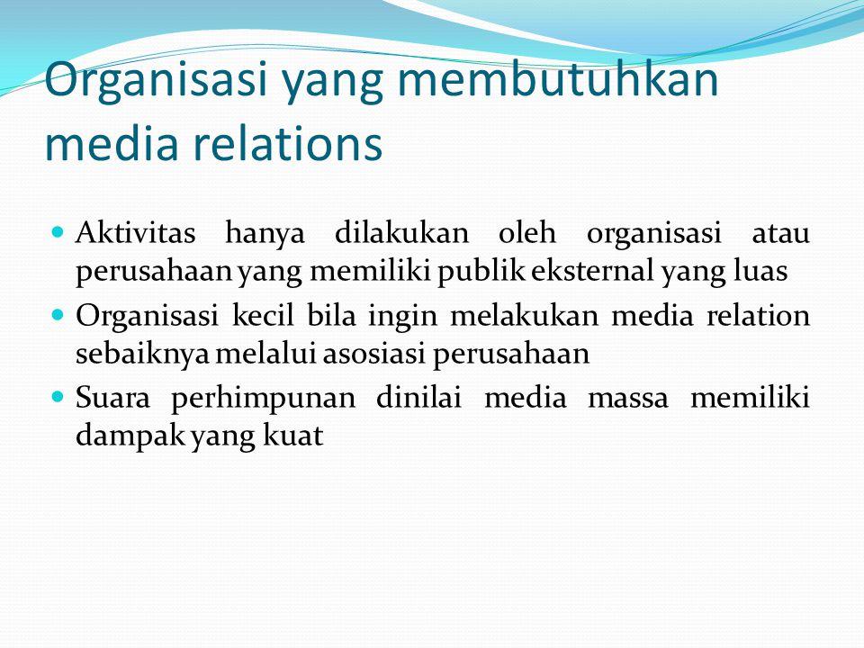 Tujuan media relation Memperoleh publisitas Memperoleh tempat dalam pemberitaan media Memperoleh umpan balik Melengkapi data /informasi bagi pimpinan lembaga bagi keperluan pembuatan penilaian secara tepat mengenai yang memengaruhi keberhasilan kegiatan Mewujudkan hubungan yang stabil dan berkelanjutan yang dilandasi oleh rasa saling percaya dan menghormati