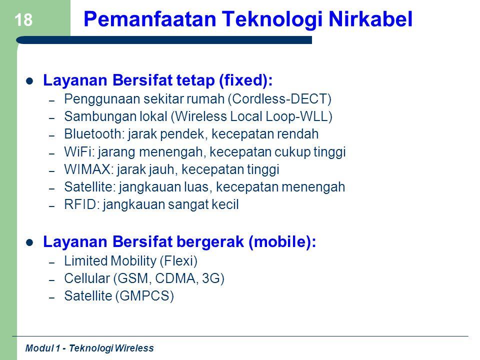 Modul 1 - Teknologi Wireless 18 Pemanfaatan Teknologi Nirkabel Layanan Bersifat tetap (fixed): – Penggunaan sekitar rumah (Cordless-DECT) – Sambungan