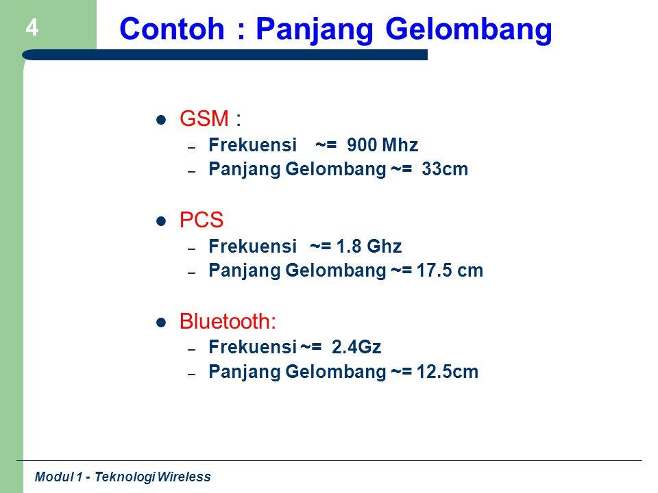Modul 1 - Teknologi Wireless 4 Contoh : Panjang Gelombang GSM : – Frekuensi ~= 900 Mhz – Panjang Gelombang ~= 33cm PCS – Frekuensi ~= 1.8 Ghz – Panjan
