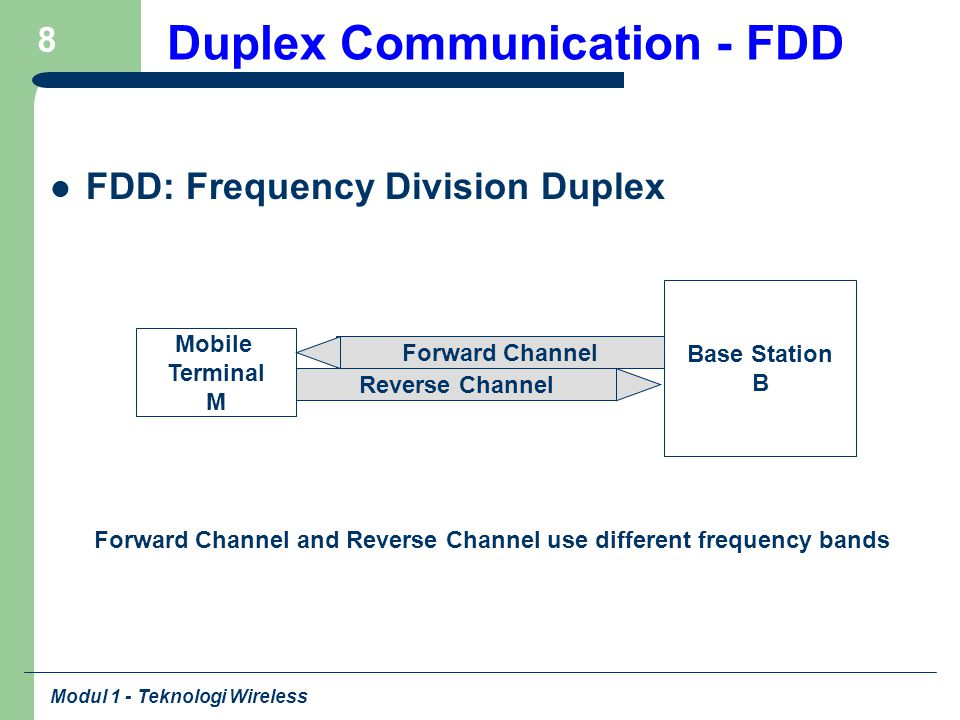 Modul 1 - Teknologi Wireless 8 Duplex Communication - FDD FDD: Frequency Division Duplex Base Station B Mobile Terminal M Forward Channel Reverse Chan