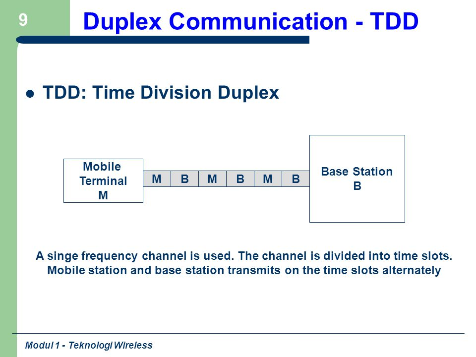 Modul 1 - Teknologi Wireless 9 Duplex Communication - TDD TDD: Time Division Duplex Base Station B Mobile Terminal M A singe frequency channel is used