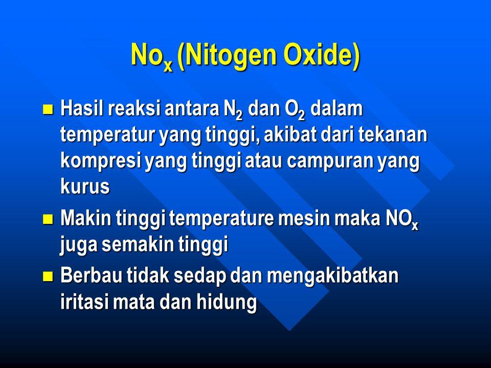 No x (Nitogen Oxide) Hasil reaksi antara N 2 dan O 2 dalam temperatur yang tinggi, akibat dari tekanan kompresi yang tinggi atau campuran yang kurus H